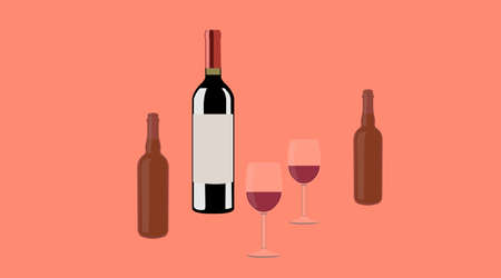 Wine and Beer. Vector isolated Illustratioon of a bottle of wine, ywo cups of wine and two bottles of beer