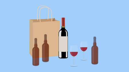 Wine and Beer. Vector isolated Illustration of a bottle of wine, two cups of wine and two bottles of beer with a paper take away bag Stock Illustratie