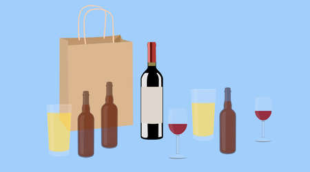 Wine and Beer. Vector isolated Illustration of a bottle of wine, two cups of wine and two bottles and glasses of beer with a paper take away bag