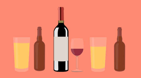 Wine and Beer. Vector isolated Illustration of a bottle of wine, two cups of wine and two bottles of beer with two glasses