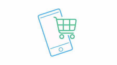 Phone shopping vector icon. Online shopping with your phone icon.