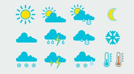 Weather icon set. Set of flat isolated illustrations