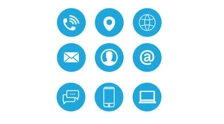 Contact Icon Set. Blue and White Illustration of Differente Contect icons Vektorové ilustrace