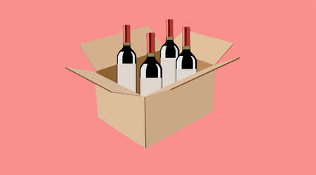 Vector isolated Illustration of a Carton Box of Wine Bottles