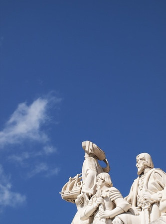 discoveries: Close Up Monument to the Discoveries with great blue sky and white clouds at Lisbon, Portugal