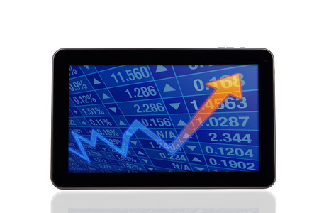 Stock Chart Diagram on tablet PC photo
