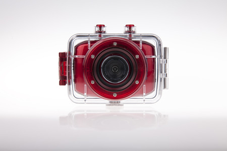 otras palabras clave: Underwater red action video camera with plastic waterproof case