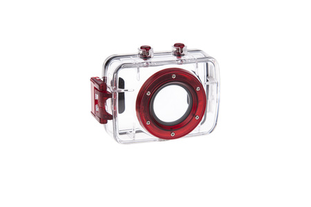 Underwater plastic waterproof case for action camera Stock Photo