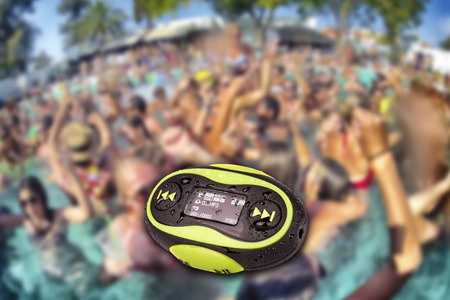 Portable mini MP3 waterproof swimming pool party background photo