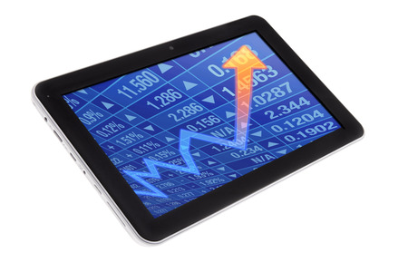 Tablet with stock chart diagram in screen photo