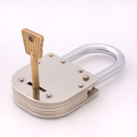 Old Style Padlock and Key photo