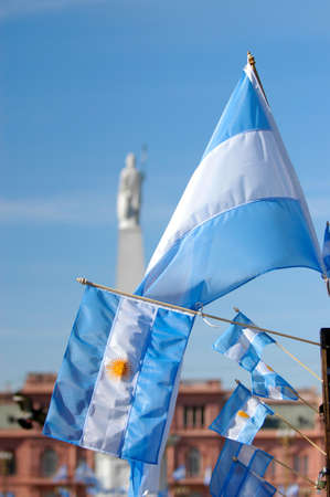 argentinian flag: Argentinian Flag in May square pyramid, Buenos Aires, Argentina.