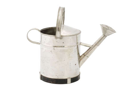 Metal Watering Can Isolated on White Background photo