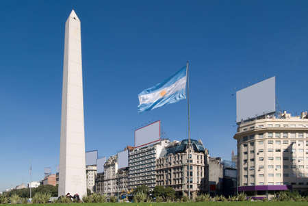 The Obelisk a major touristic destination in Buenos Aires, Argentina