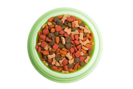 Pet Food Bowl Isolated White on Background photo