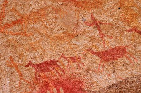 pintura rupestre: Pinturas rupestres antiguas de la Patagonia Foto de archivo
