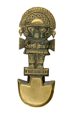 Peruvian ancient ceremonial mask isolated on white background