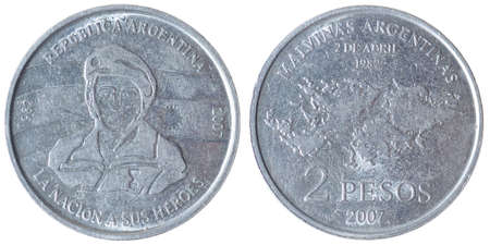 falklands war: Two Peso Coin from Argentina, commemorative of Falklands 1982 War Stock Photo