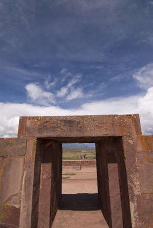 declared: Main Entrance to Kalasasaya Temple, Tiwanaku, Bolivia. Declared UNESCO World Heritage Site Stock Photo