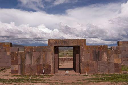 declared: Main Entrance to Kalasasaya Temple, Tiwanaku, Bolivia. Declared UNESCO World Heritage Site Archivio Fotografico