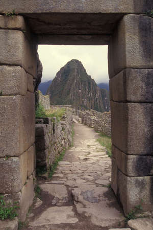 Main Entrance to Machu Picchu, Peru. Declared UNESCO World Heritage Site