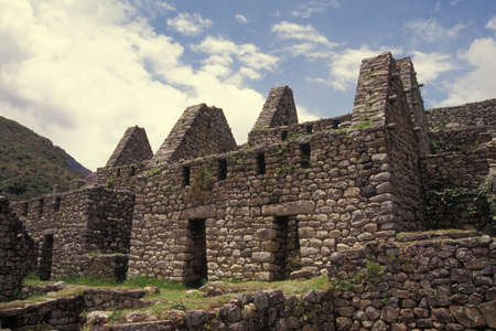 declared: Residential Section of Machu Picchu, Peru. Declared UNESCO World Heritage Site Stock Photo