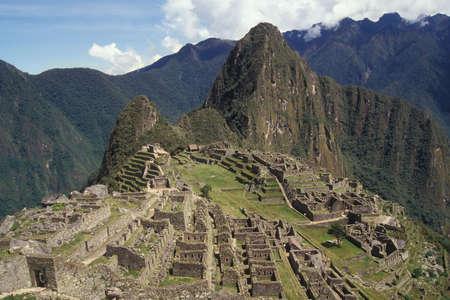 declared: View of the Citadel of  Machu Picchu, Peru. Declared UNESCO World Heritage Site