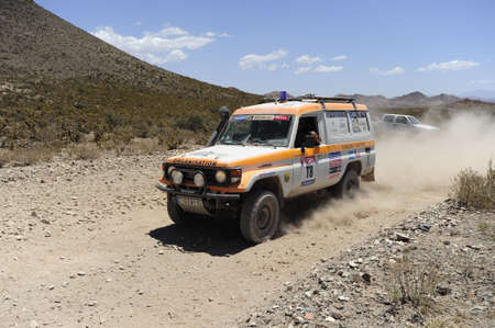 MENDOZA, ARGENTINA - JANUARY 15 2010 - A 4x4 Vehicle in the Rally DAKAR Argentina - Chile 2010