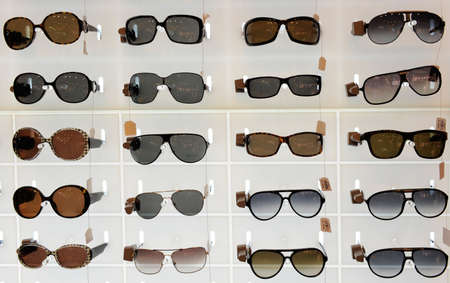 Sunglasses displayed for sale Stock Photo
