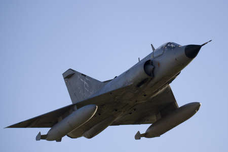 iii: Mirage III Combat Jet in Flight Stock Photo