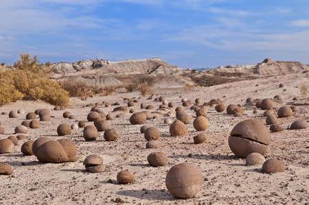 declared: Cancha de bochas, sandstone formation in Ischigualasto, San Juan, Argentina. Declared UNESCO world heritage site and a major touristic destination. Stock Photo