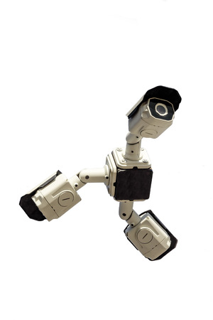 Three security cctv cameras on white background. Isolated Stock Photo
