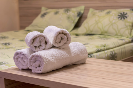 White towel on table in Hotel Room,Room service. Stock Photo