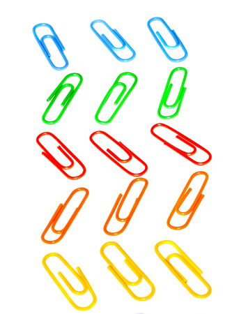 Color photo paperclips on a white background