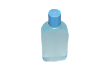 bath supplement: Blue cosmetics plastic bottle, isolated
