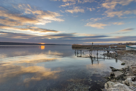 seascapes: calmness mood over the lake at sunset