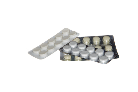 blister package: Blister packs of pills isolated on the white background, three package of pills. Close Stock Photo