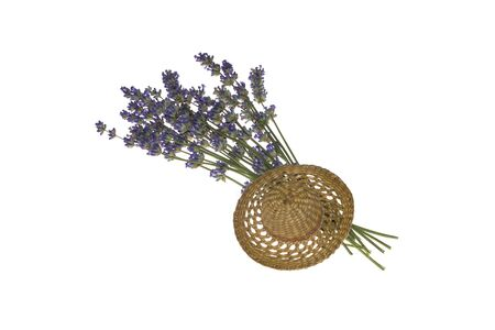 bouquet purple lavender and little hat, isolated on white background