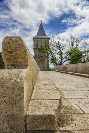 Court Tower of Justice and Sultan Suleyman bridge in Edirne city of Turkey.Freedom tower to kirkpinar using old stone bridge