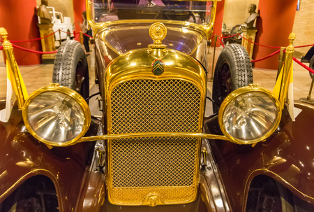 Vatican, Vatican city - June 12, 2017: Pope Automobile Citroen, hall of the historic transportation vehicles of the Pope, Vatican Museum exhibition. Front view