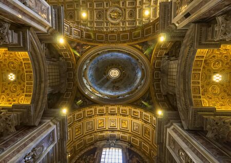 VATICAN CITY, VATICAN - JUNE 13, 2017 : interiors and architectural details of Basilica of saint Peter
