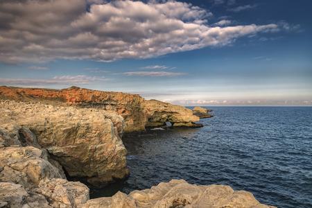spectacular landscape at coastline  cliffs near Tyulenovo village, Black Sea, Bulgaria