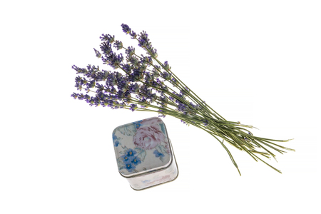 bouquet purple lavender and a little metal box, isolated on white background