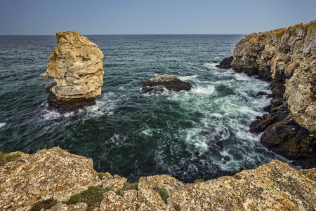 spectacular scenic rural nature landscape from the cliffs near Tyulenovo village, Black Sea, Bulgaria