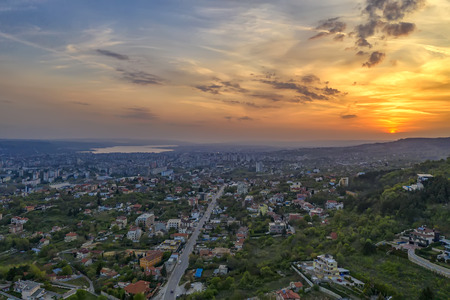 Aerial view of Varna city and sea, Bulgaria at sunset 免版税图像