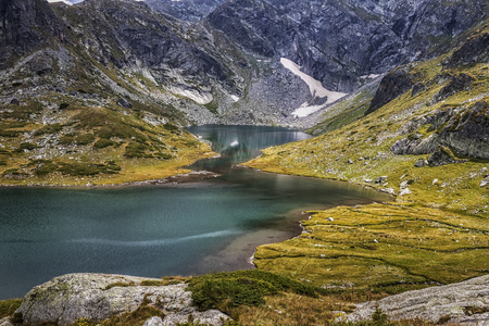 The landscape of part a beautiful mountain lake in the Rila mountain