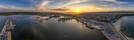 Amazing aerial panorama drone view of Varna city, Bulgaria.