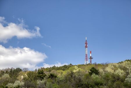 Beautiful day view at TV tower on the top of the mountain. Varna, Bulgaria