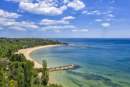 A beautiful aerial view to Euxinograd bay from the shore. Varna, Bulgaria