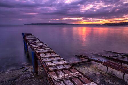 amazing long exposure sea sunset at the fishing jetty